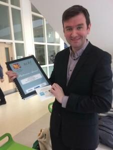 Brendan Breslin with Platinum Certificate